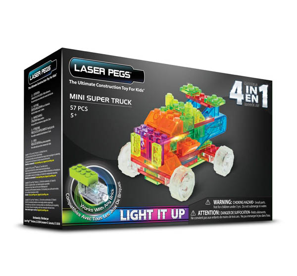 Mini Super Truck 4 in 1 Laser Pegs Light It Up Construction Toy
