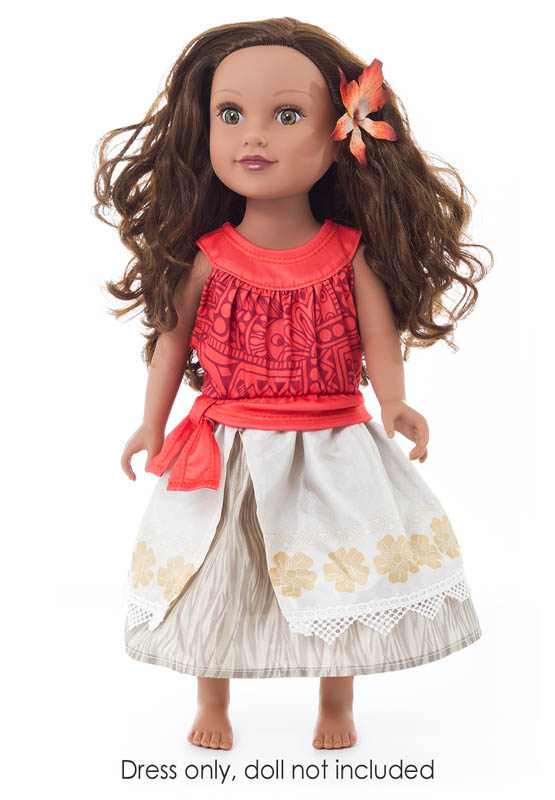 Polynesian Princess Doll Dress with Hair Clip