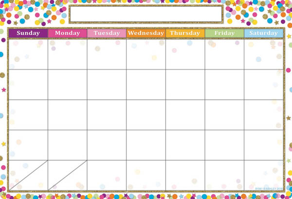 Confetti Calendar Smart Poly Chart Write-On/Wipe-Off