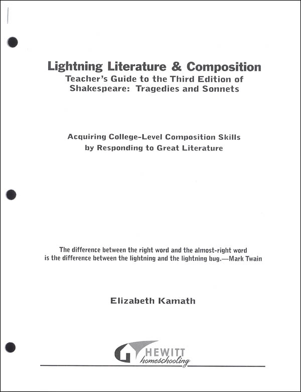Lightning Literature & Composition Shakespeare Tragedies and Sonnets Teacher Guide