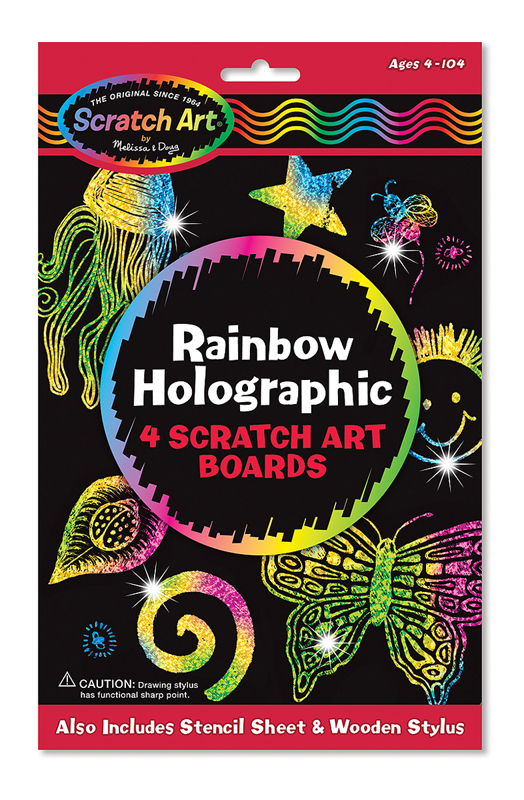 Rainbow Holographic 4 Scratch Art Boards