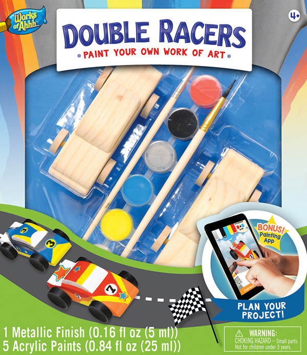 Double Racers Wood Painting Kit (with rubber wheels)