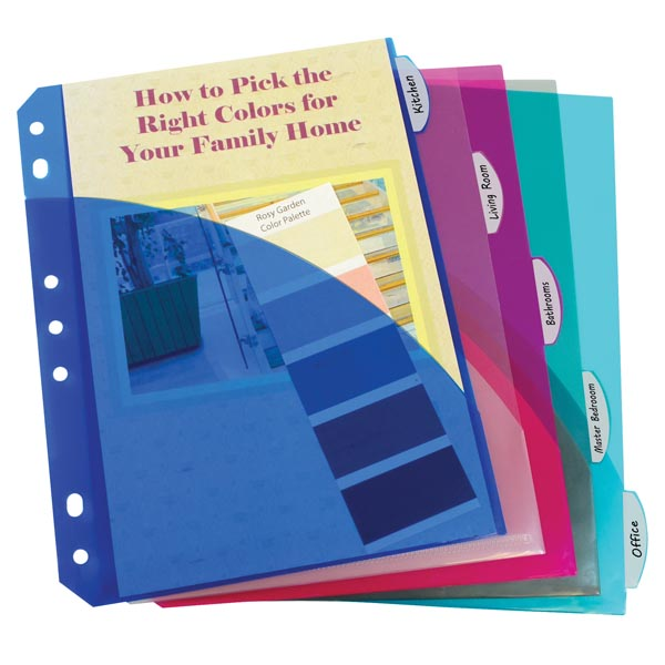 Mini Binder 5-Tab Poly Index Dividers With Pockets