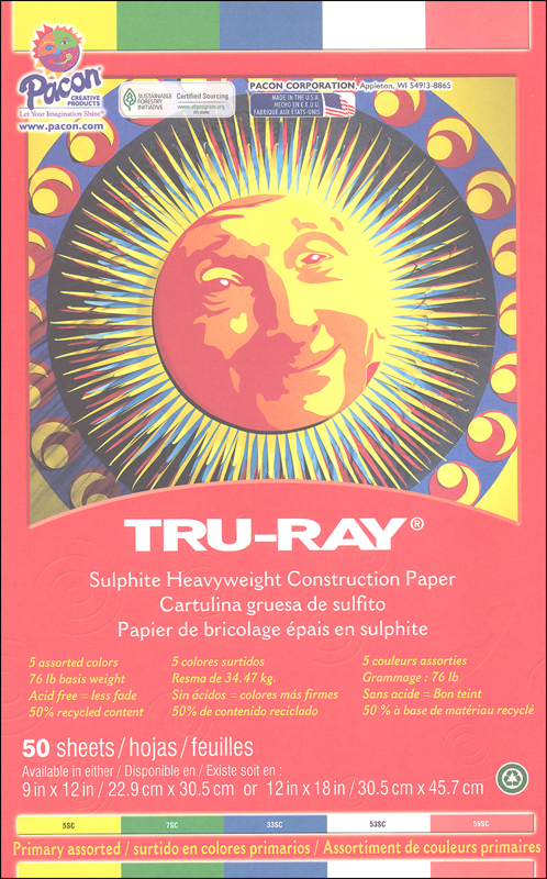 "Tru-Ray Sulphite Construction Paper - Primary Assorted, 5 Colors (9"" x 12"") - 50 Sheets"