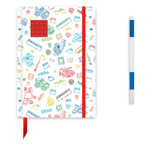 LEGO Journal White with Red 4x4 Brick & Blue Gel Pen