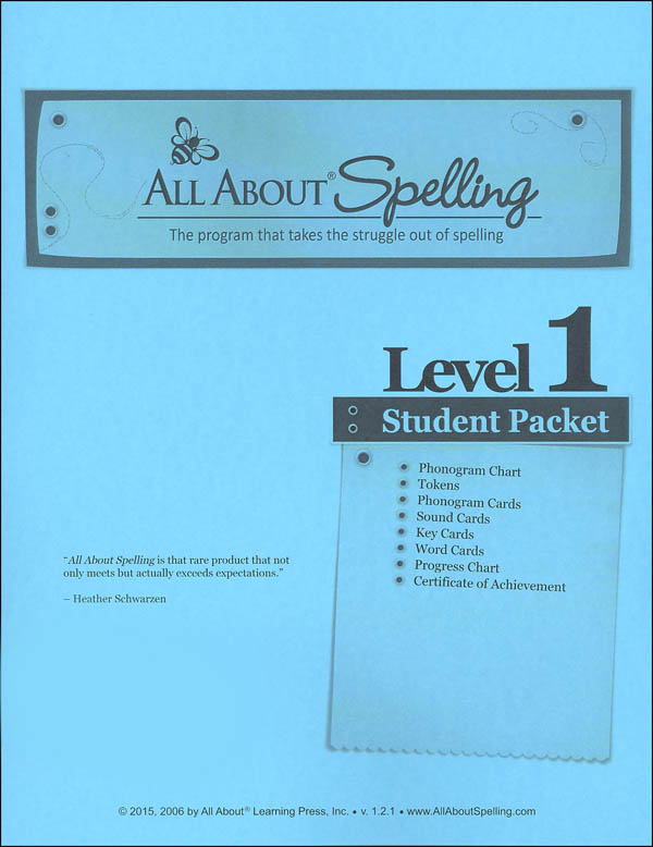 All About Spelling Level 1 Student Material Packet