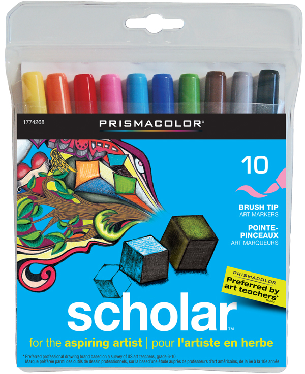 Prismacolor Scholar Brush Tip Art Markers 10 /set