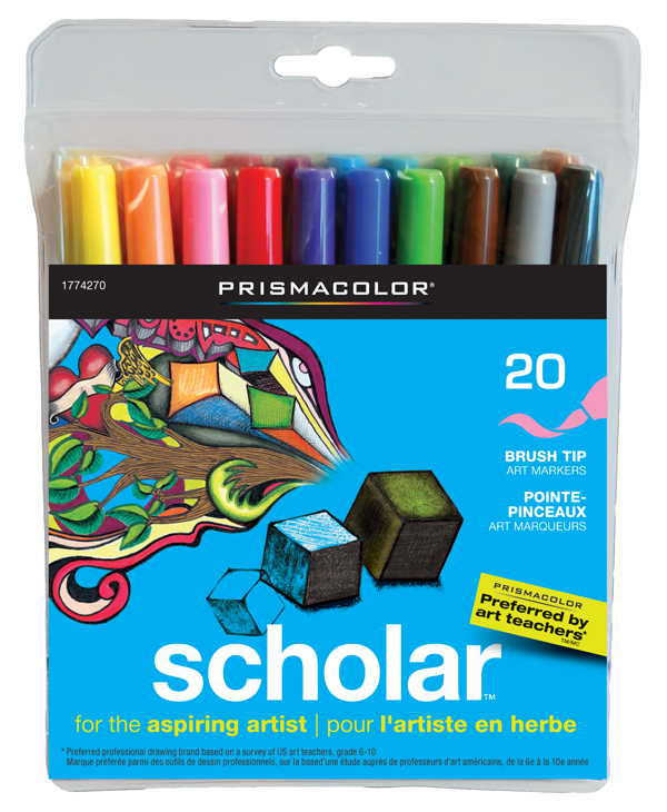 Prismacolor Scholar Brush Tip Art Markers 20 /set