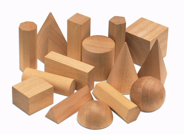 Wooden Geometric Solids (Set of 15)