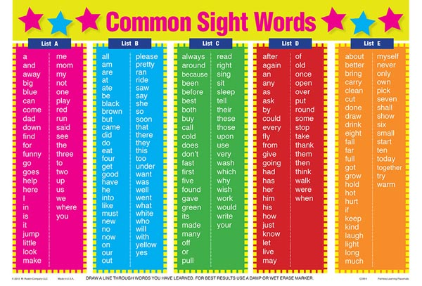 Common Sight Words Placemat
