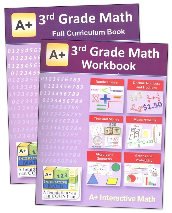 A+ Interactive Math 3rd Grade Full Curriculum Textbook & Workbook Bundle