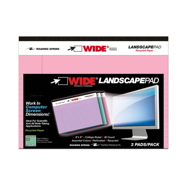 "Colored Landscape Pads (8"" x 6"") College Ruled 3-pack Assorted Colored Paper"