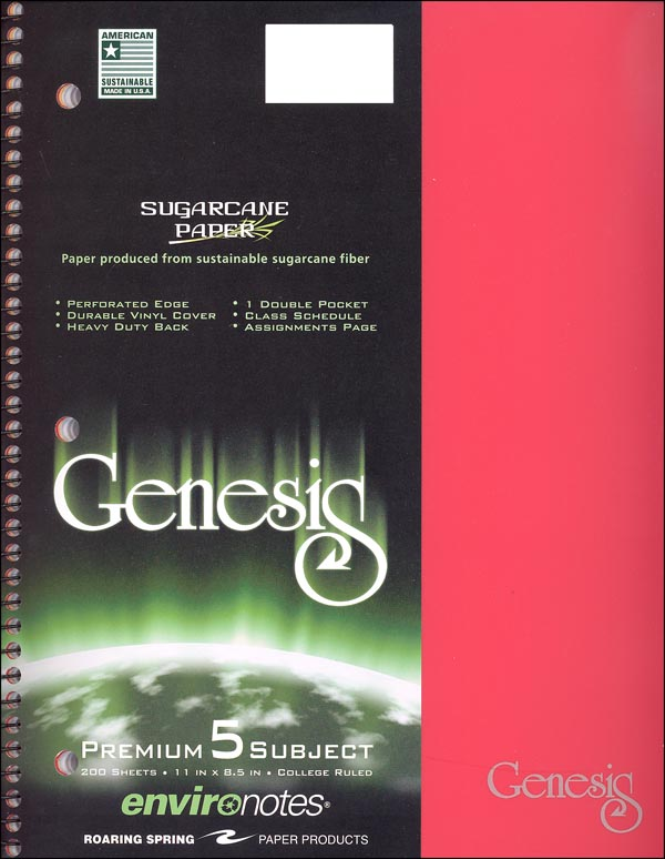 Genesis Five Subject College Ruled Notebook