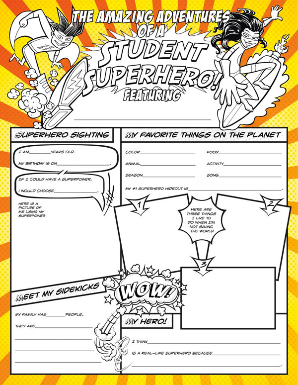 Student Superhero Fill Me In Activity Poster