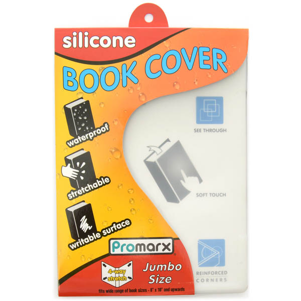 "Stretchable Jumbo Silicone Book Cover 9"" x 11"" Clear"
