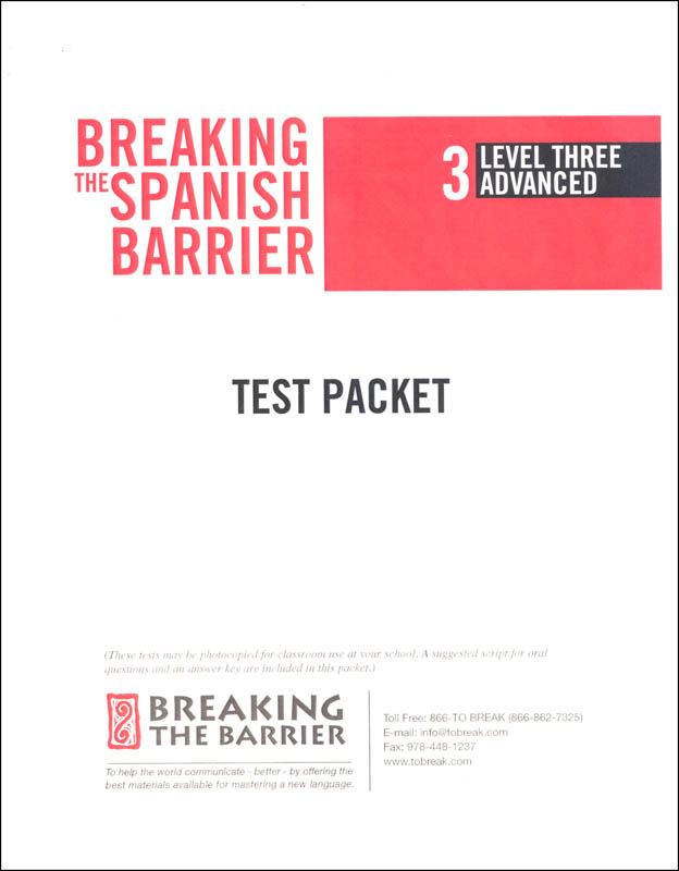 Breaking the Spanish Barrier - Level 3 (Advanced) Teacher Test Packet (print)