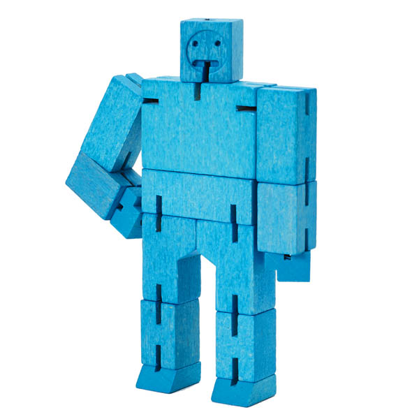 Cubebot Micro (Wooden Toy Robot) blue