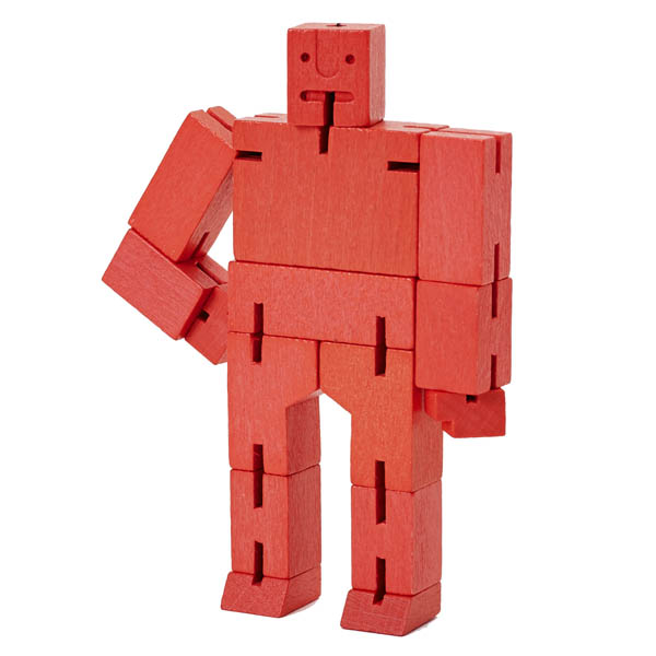 Cubebot Micro (Wooden Toy Robot) red