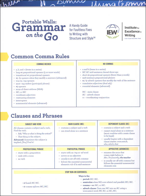 Grammar on the Go: Handy Guide for Faultless Fixes to Writing with Structure and Style