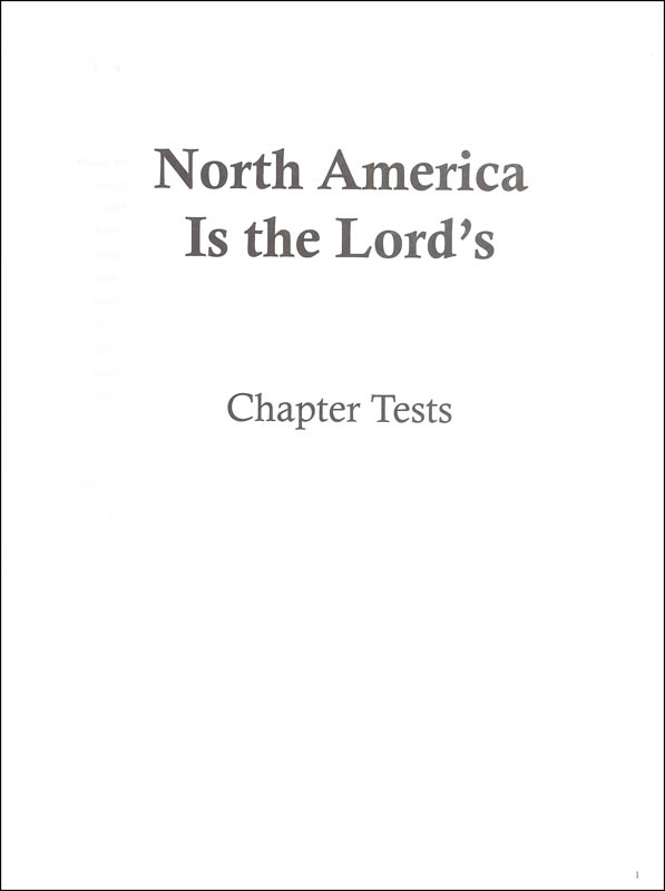 Social Studies 500 North America Chapter Tests