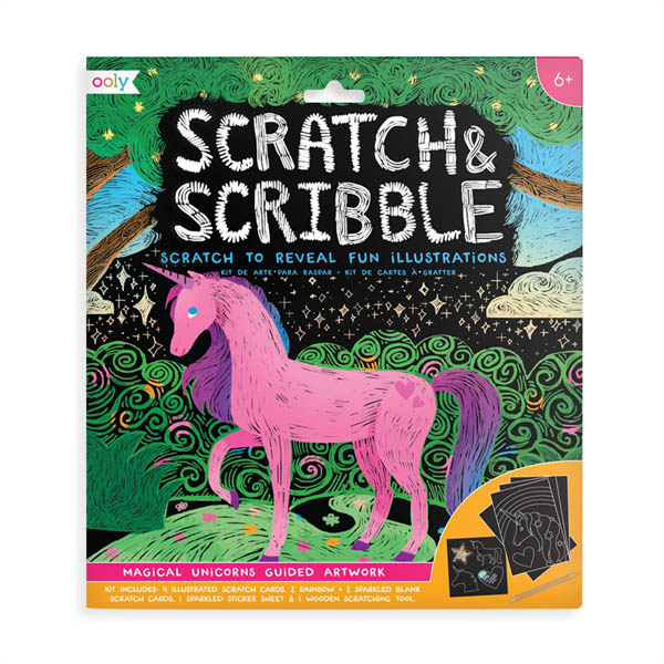 Magical Unicorns Scratch & Scribble Art Kit: 10 piece set