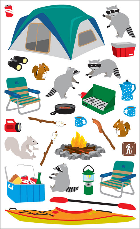 Camping Stickers (2 sheets)