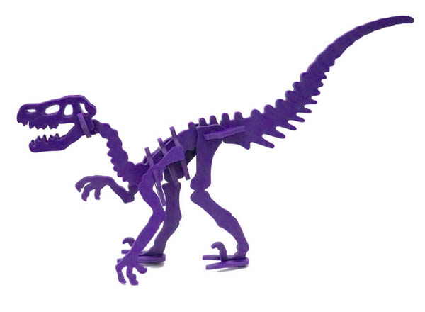 Moe the Velociraptor Mini 3D Puzzle - Purple