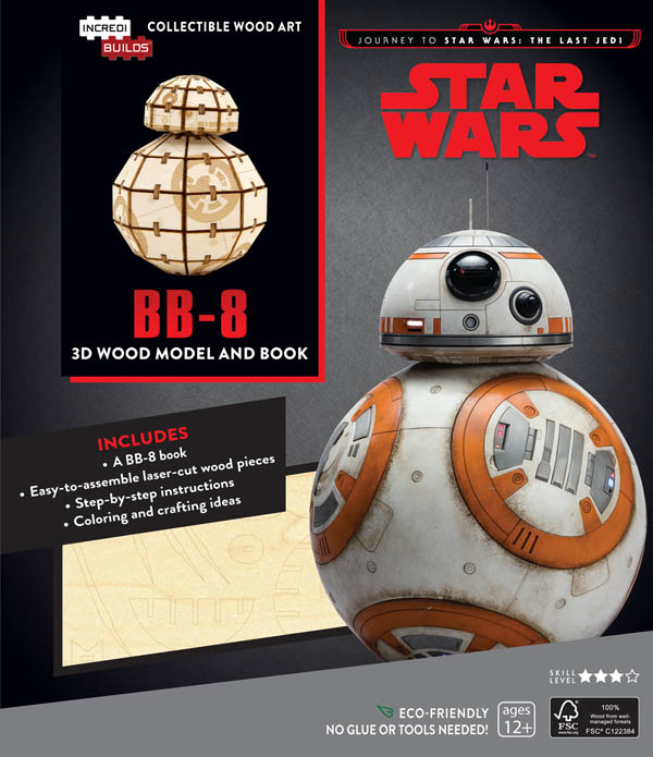 Journey to Star Wars, The Last Jedi, BB-8 3D Wood Model and Book