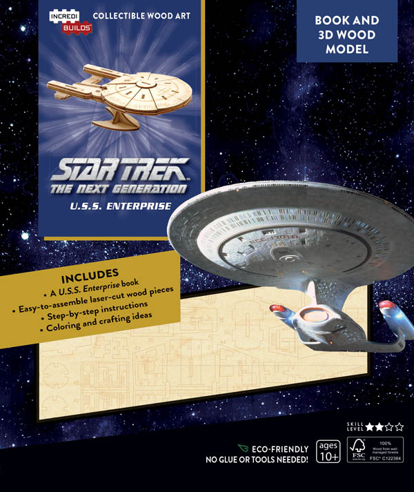Star Trek The Next Generation U.S.S. Enterprise Book and 3D Wood Model