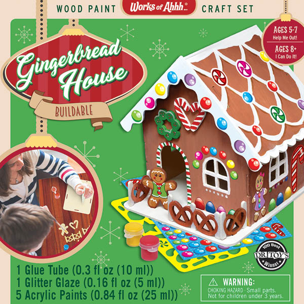 Gingerbread House Buildable Wood Paint Kit
