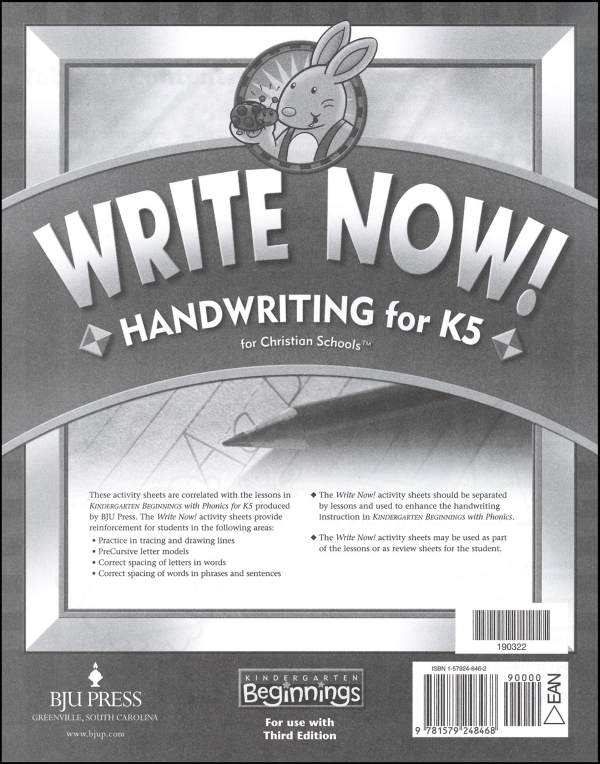 Beginnings K5 Write Now! Activity Sheets 3ED