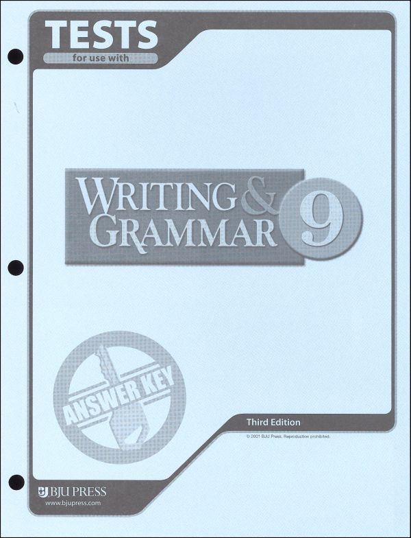 Writing/Grammar 9 Testpack Ans Key 3rd Edition