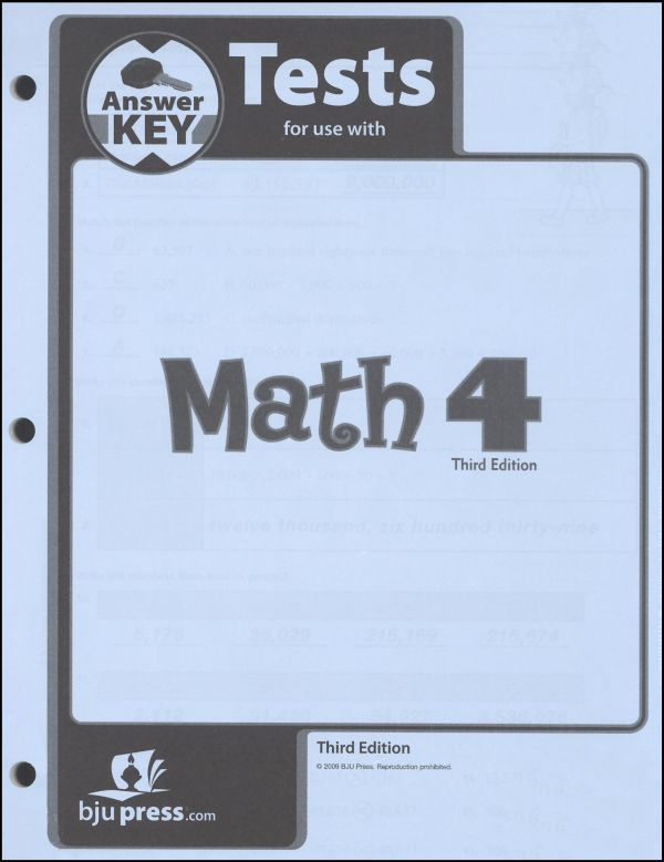 Math 4 Testpack Answer Key 3rd Edition