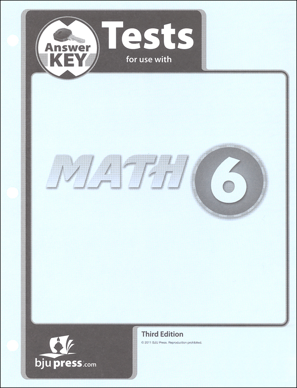 Math 6 Tests Answer Key 3rd Edition
