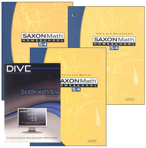 Math 5/4 3rd Edition Saxon Home Study Kit plus DIVE CD-ROM