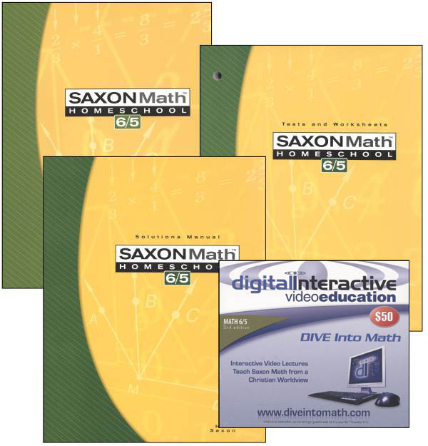 Math 6/5 3rd Edition Saxon Home Study Kit plus DIVE CD-ROM
