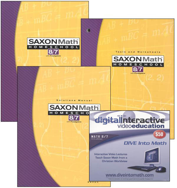Math 8/7 3rd Edition Saxon Home Study Kit plus DIVE CD-ROM