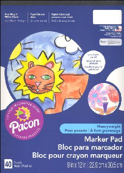 "Marker Pad - White 9""x 12"" (40 Sheets)"