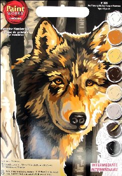 Wolf Among Birches Paint-By-Number (Intermediate)