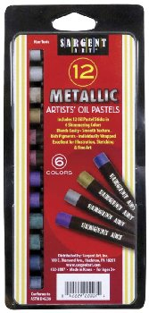 Metallic Oil Pastels - 12 sticks, 6 Assorted Colors