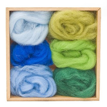 Woolpets Wool Roving (1.5 oz bag) - Forest and Sky