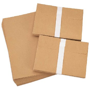 "Blank Cards & Envelopes - Brown Kraft Paper (5""x7"") 50 sets"