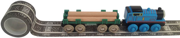"Railroad Track Playtape, with wood ties, 30' x 2"" (black)"