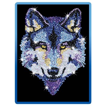 Sequin Art Blue Wolf