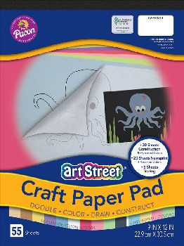 "Craft Paper Pad, Assorted Colors (9""x12"")"
