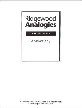 Ridgewood Analogies Book 1 Teacher Guide