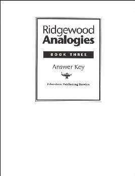 Ridgewood Analogies Book 3 Answer Key