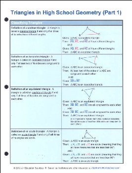Triangles in High School Geometry Part 1 Quick Reference Guide