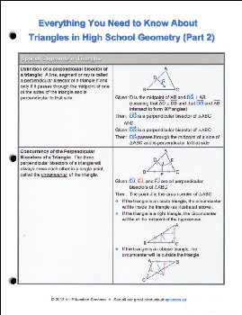 Triangles in High School Geometry Part 2 Quick Reference Guide