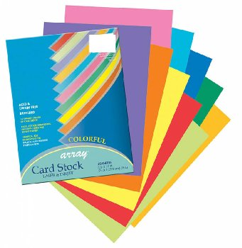 "Colorful Card Stock - assorted colors (8.5"" x 11"") 50 sheets"